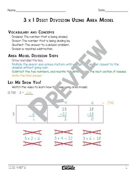 3 x 1 Digit Area Model Division Math Video and Worksheet