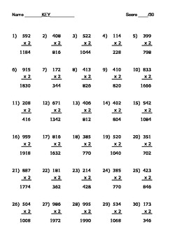 3 x 1 Digit Multiplication