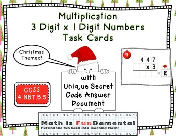3 x 1 Digit Multiplication Task Cards - w/ Secret Code Joke (Christmas Themed)
