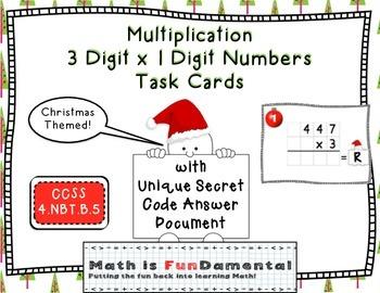 3 x 1 Digit Multiplication Task Cards - w/ Secret Code Jok