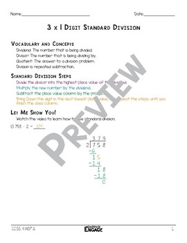 3 x 1 Digit Standard Division Math Video and Worksheet