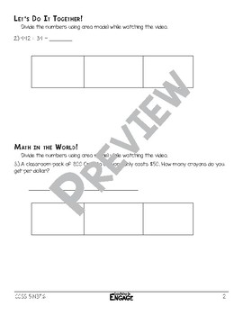 3 x 2 Digit Division Using Area Model Math Video and Worksheet