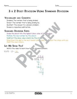 3 x 2 Digit Division Using Standard Division Math Video and Worksheet