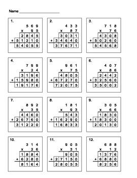 3 x 2 Digit Multiplication Fill In The Blanks