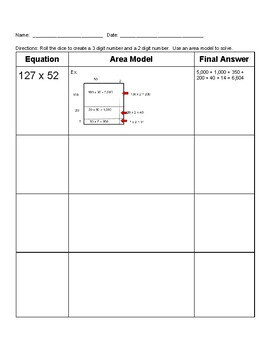 3 x 2 Digit Multiplication Using Area Models