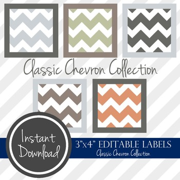 "3"" x 4"" EDITABLE PRINTABLE Labels - Classic Chevron Collection"