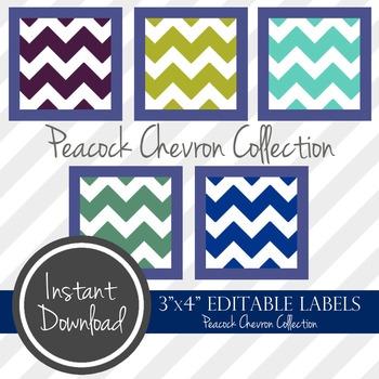 "3"" x 4"" EDITABLE PRINTABLE Labels - Peacock Chevron Collection"