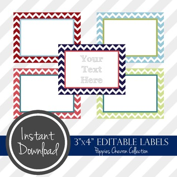 "3"" x 4"" EDITABLE PRINTABLE Labels - Poppies Chevron Collection"