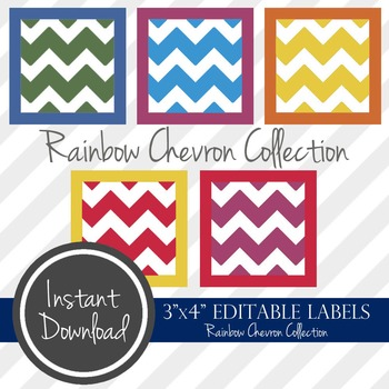 "3"" x 4"" EDITABLE PRINTABLE Labels - Rainbow Chevron Collection"