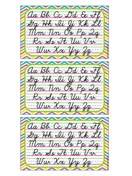 3 x 5 Cursive Desk Cards {D'Nealian}