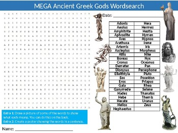 3 x Ancient Greek Gods Wordsearch Sheet Starter Activity Keywords History Greece