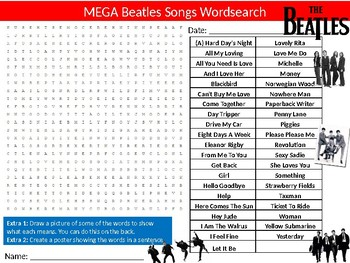 3 x Beatles Songs Wordsearch Puzzle Sheet Activity Keywords Music Musicians