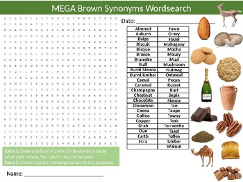 3 x Brown Synonyms Wordsearch Sheet Starter Activity English Vocabulary