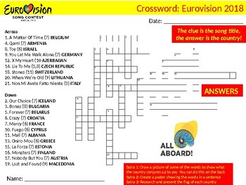 3 x Eurovision Song Contest 2018 Crossword Puzzle Sheets Starter Keywords Music