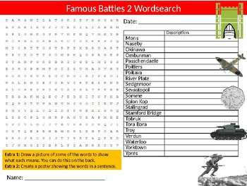 3 x Famous Battles Wordsearch Sheet Starter Activity Keywords History