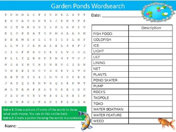 3 x Garden Ponds Wordsearch Puzzle Sheet Keywords Science Pond Dipping