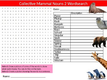 3 x Group Collective Nouns for Mammals Wordsearch Sheet Activity English
