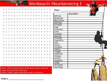 3 x Mountaineering Wordsearch Puzzle Sheet Keywords Physical Education Sports