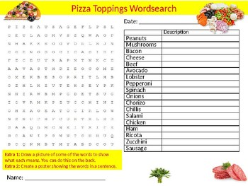3 x Pizza Foods Wordsearch Puzzle Sheet Keywords Cheese Food Science Nutrition