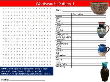 3 x Pottery Wordsearch Puzzle Sheet Keywords Activity Art Design