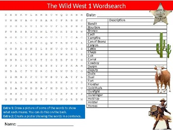 3 x Wild West Wordsearch Sheet Starter Activity Keywords American History