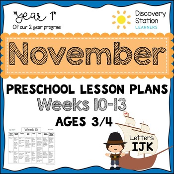 3 year old Preschool NOVEMBER Lesson Plans (Weeks 10-13)