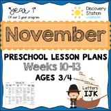 3 year old Preschool NOVEMBER Lesson Plans (Weeks 10-13)