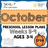 3 year old Preschool OCTOBER Lesson Plans (Weeks 5-9)