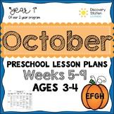 3 year old Preschool OCTOBER Lesson Plans (Weeks 5-9)