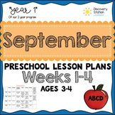 3 year old Preschool SEPTEMBER lesson plans (Weeks 1-4)