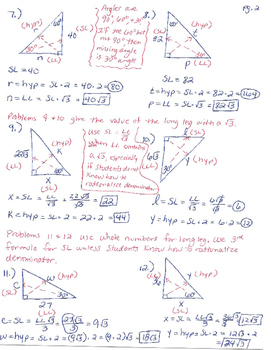 30-60-90 Right Triangles WS Detailed Solution Guide