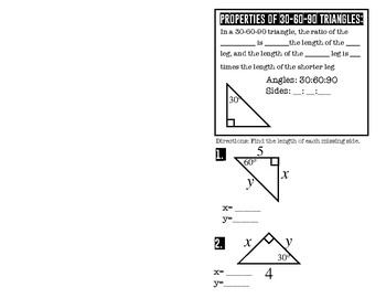 30-60-90 Special Right Triangles Foldable