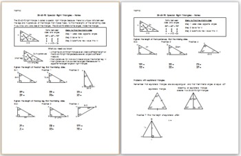 30-60-90 Special Right Triangles - Notes by Eric Douce | TpT