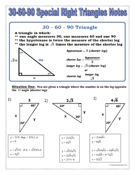 Right Triangles  30 60 90 Special Right Triangles Notes and Practice