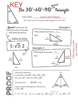 30° 60° 90° Special right triangle DOODLE NOTES