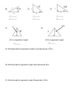 30-60-90-Triangles Worksheet