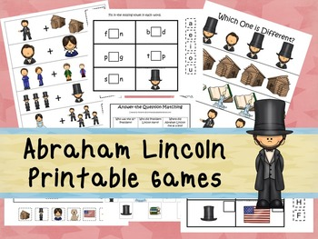 30 Abraham Lincoln Games Download. Games and Activities in PDF files.