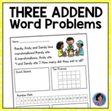 Three Addend Addition Word Problems: Includes Bonus/Enrichment Questions {ESL}