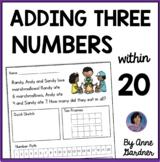 Three Addend Addition Word Problems: Includes Bonus/Enrichment Questions {ESL}