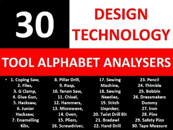 30 Alphabet Analysers Design Technology Tools Keyword Starters Cover Activities