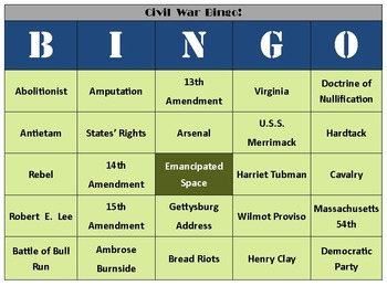 30 American Revolution & 30 Civil War Bingo Boards with 95 Calling Cards Each