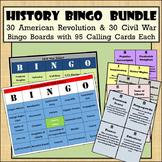 30 American Revolution & 30 Civil War Bingo Boards with 95 Calling Cards Each