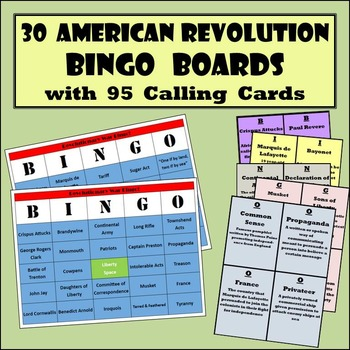 30 American Revolution Bingo Boards with 95 Detailed Calli
