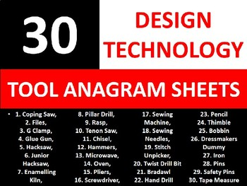 30 Anagram Sheets Design Technology Tools Keyword Starters Anagrams Activities