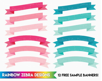 12 Free Sample Banners Pink & Teal - Clipart  300ppi png files