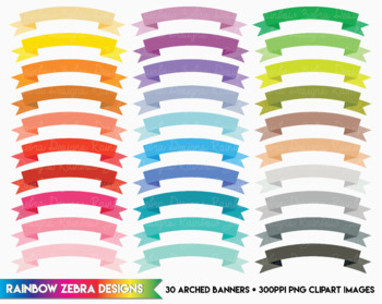 30 Arched Banners - Clipart / Digital Download 300ppi png files