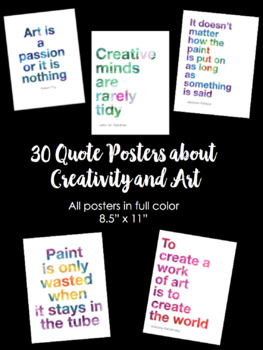 30 Art Creativity Classroom Quote Posters 8 5 X 11 By Friends