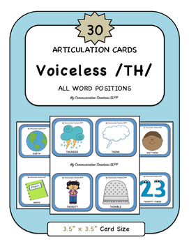 30 Articulation Cards {Voiceless /TH/ Speech Sound} All Word Positions