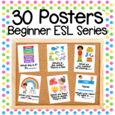 30 Beginner ESL Classroom Signs English Conversation Posters ELL Newcomers