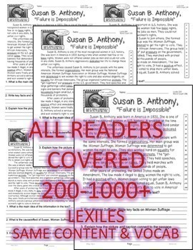 30 Biographies Close Read 5 Levels Each Passage Susan Anthony Washington & More